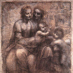 Leonardo da Vinci - The Virgin and Child with St Anne and St John the Baptist