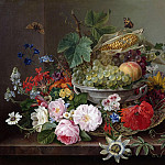August Ferdinand Hopfgarten - Flower still life with fruit basket