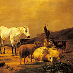 Эжен Жозеф Вербукховен - Verboeckhoven_Eugene_A_Horse_Sheep_And_Goat_In_A_Landscape
