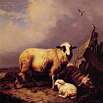 Eugene Joseph Verboeckhoven - Guarding_the_Lamb