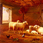 Eugene Joseph Verboeckhoven - Verboeckhoven_Eugene_Joseph_Sheep_With_Chickens_And_A_Goat_In_A_Barn