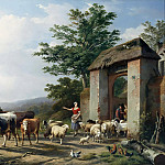 Eugene Joseph Verboeckhoven - The departure to the pasture