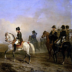Emperor Napoleon I and his staff on horseback, Horace Vernet