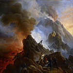 The Vesuvius Erupting, the Artist and His Father, Carle Vernet, in the Foreground, Horace Vernet