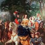 Empress Alexandra Feodorovna with her family at knights tournament in 1842, Horace Vernet