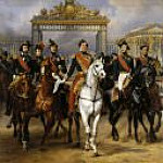 The entrance to Versailles King Louis-Philippe with five sons, 10 June 1837, Horace Vernet