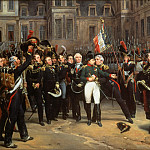 Napoloen bids farewell to his Guard at Fontainebleau on 20 April 1814, Horace Vernet
