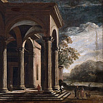 Unknown painters - Architectural fantasy, palace in landscape