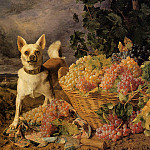 Фердинанд Георг Вальдмюллер - A Dog by a Basket of Grapes in a Landscape 1836