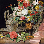 Carl Blechen - Bouquet with silver jug and antique vase