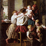 Ferdinand Georg Waldmüller - Children_Making_Their_Grandmother_a_Present_on_Her_Name_Day