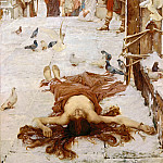 John William Waterhouse - The miraculous snow fall as Eulalia is martyred in 313 in Spain