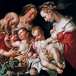 The holy family with John, Joachim Wtewael