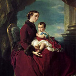Franz Xavier Winterhalter - The Empress Eugenie Holding Louis Napoleon, the Prince Imperial, on her Knees