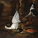 Anne Vallayer-Coster - Still life with dead swan, a peacock and a dog at a garden fountain