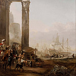 Josef Wilhelm Wallander - Harbour with Antique Ruins