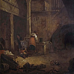 Woman at a Well in an Italian Farmhouse [Manner of]