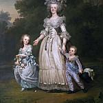 Queen Marie Antoinette of France and two of her Children Walking in The Park of Trianon, De Schryver Louis Marie