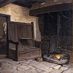 Josef Wilhelm Wallander - A Cottage Interior. Study