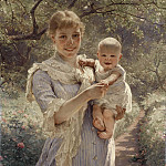 Unknown painters - Young Mother with a Child in a Garden
