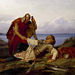 Unknown painters - Hjalmar Parting from Orvar Odd after the Fight on Samsö