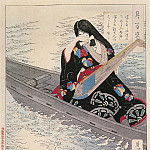 Yoshitoshi - 098 Ariko Weeps as Her Boat Drifts in the Moonlight