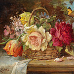 Hans Zatzka - A Basket of Flowers and a Butterfly