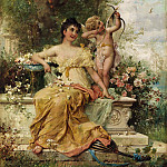 Hans Zatzka - YOUNG LADY IN THE PARK NEXT TO AN AMOR