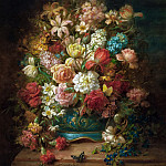Hans Zatzka - Still Life with Flowers and Butterflies