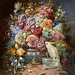 Hans Zatzka - A still life with roses, irises, hollyhocks and other flowers along with butterflies and a cockatoo