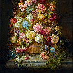 Hans Zatzka - A still life with flowers in a jardiniere resting on a ledge