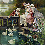 Hans Zatzka - feeding the swans
