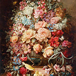 Hans Zatzka - Large floral still life with butterflies