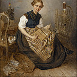 Unknown painters - A Girl Carding