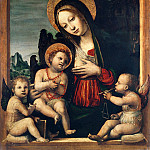 Bonifacio Bembo - Madonna and Child with Two Angels