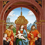 Gallo Gallina - Virgin and Child with saints and donors, members of the Busti family