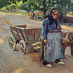 Joseph Peter Wilms - Old woman with dog wagon