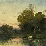 National Gallery of Art (Washington) - Henri-Joseph Harpignies - Evening Light on a Wooded Lakeside with Cattle Drinking