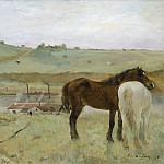 Horses in a Meadow, Edgar Degas