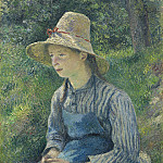 Peasant Girl with a Straw Hat, Camille Pissarro