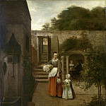 Woman and Child in a Courtyard, Pieter de Hooch