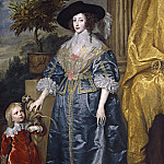 Sir Anthony van Dyck - Queen Henrietta Maria with Sir Jeffrey Hudson, National Gallery of Art (Washington)