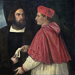 Titian and Workshop - Girolamo and Cardinal Marco Corner Investing Marco, Abbot of Carrara, with His Benefice, National Gallery of Art (Washington)