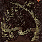 National Gallery of Art (Washington) - Leonardo da Vinci - Wreath of Laurel, Palm, and Juniper with a Scroll inscribed Virtutem Forum Decorat [reverse]