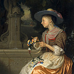 Godefridus Schalcken - Woman Weaving a Crown of Flowers, National Gallery of Art (Washington)