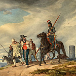 Peter von Hess - Three Armed Riders Escorting Prisoners near Reims, National Gallery of Art (Washington)
