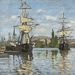 Ships Riding on the Seine at Rouen, Claude Oscar Monet