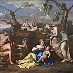 Follower of Nicolas Poussin - Nymphs Feeding the Child Jupiter, National Gallery of Art (Washington)