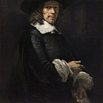 Rembrandt van Rijn - Portrait of a Gentleman with a Tall Hat and Gloves, National Gallery of Art (Washington)