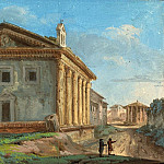 National Gallery of Art (Washington) - Italian 18th Century - Tempio della Fortuna Virile with the Tempio di Vesta in the Distance